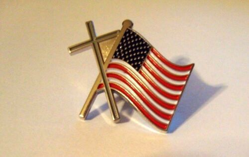 Cross and United States Flag Silver Hat Pin