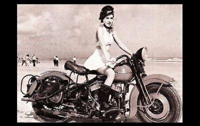 - Vintage Harley Davidson Motorcycle Girl PHOTO Beach Rider Hardtail Hot Pinup