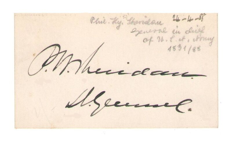 Philip H. Sheridan Civil War General Autograph Card - Authentic - BOLD!