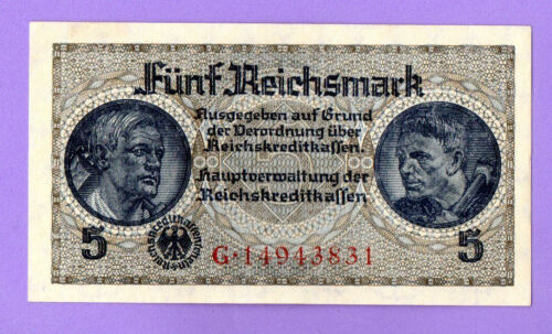 1940-1945 GERMANY LATVIA 5 REICHSMARK EAGLE W/H SWASTIKA UNC 243