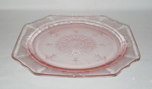 Hocking Glass Co PRINCESS Pink Square 9 inch Dinner Plate