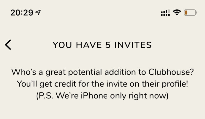 Clubhouse App Invite - iOS Only