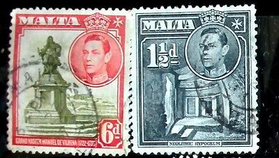 Malta Stamp  British Empire Before 1947 -2 used stamps  King George