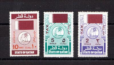 Qatar Revenue mint stamps 3v Qatar Fiscal Tax stamps mint hard item