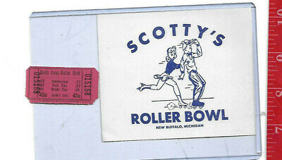 vintage lot roller rink decal Scotty's New Buffalo Michigan & ticket