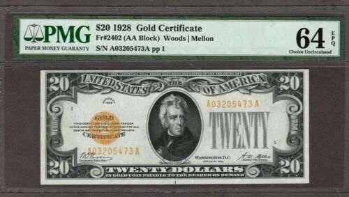 1928 $20 Gold Certificate, PMG 64 EPQ, NICE!!