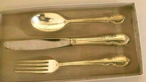 1847 Rogers 3-Pc REFLECTION Silver Plate Youth Set w Knife ,Fork, Spoon & Box