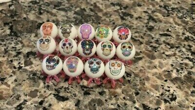 Sugar Skulls/ Day Of The Dead Glass Marbles Lot 5/8 Inch Size With Stands