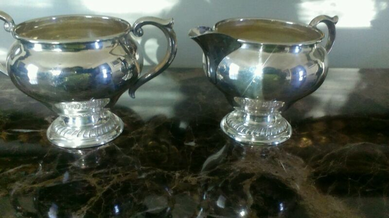 Vintage Alvin Sterling Silver Creamer and Sugar Bowl from the 1940