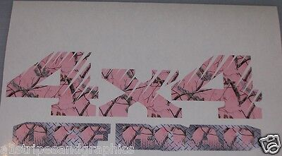 Real tree Pink Camo 4X4 OFF ROAD #2 BED SIDE Decals Decal F150 F250 Ram Chevy