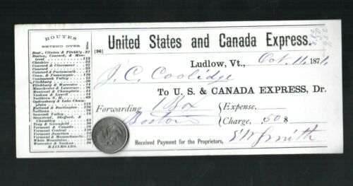 1871 United States And Canada Express Receipt Ludlow VT John Calvin Coolidge Sr.