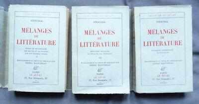 STENDHAL  MELANGES DE LITTERATURE 3 vol LE DIVAN Ed 1933