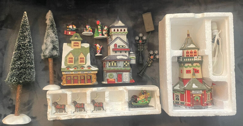 Dept. 56 lot Trees Santa Reindeer Barn Post Office Lookout Tower North Pole