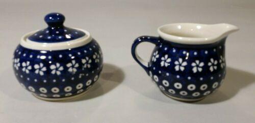 Boleslawiec Sugar and Creamer. Blue and White. New