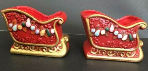 Napcoware Japan Red Ceramic Sleigh Candle Holders Set Of 2 W/ Flaws