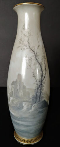 Art Nouveau French Opaline Hand Blown & Hand Painted Important Old Vase, Rare