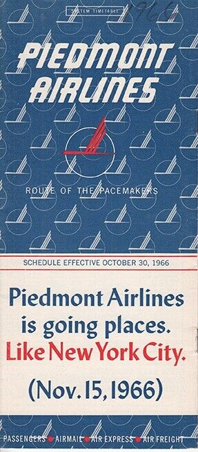 Piedmont Airlines timetable 1966/10/30