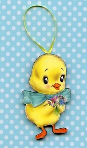 Happy Easter yellow chick Ornament Decoration vintage postcard image