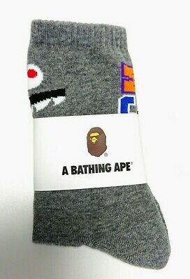 A BATHING APE Goods Men's SHARK SOCKS gray large From Japan new F/S