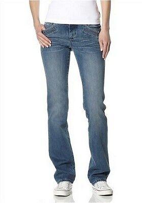 4Wards Jeans Gr.34,36,38,40 L32 Damen Stretch Denim Light Blue Used Push Up Hose Denim Light Blue Jeans