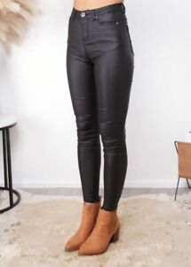 HIGH WAISTED WET LOOK JEANS. Hobart CBD Hobart City Preview