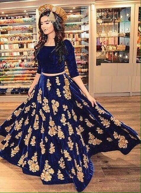 Lehenga choli velvet Indian Pakistani Designer, BLUE LEHENGA CHOLI