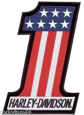HARLEY-DAVIDSON® RED WHITE & BLUE FLAG #1 EMBROIDERED PATCH EM227841