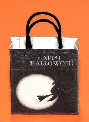 Dollhouse Miniature - Happy Halloween Gift Bag with Witch Flying Past the Moon