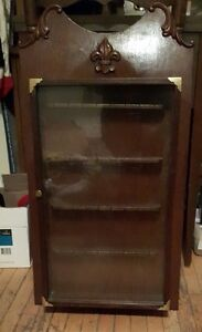 Vintage Souvenir Large Wood Display Rack With Hinged Glass Door.
