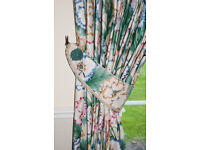 Designer fabric, cotton-lined curtains attractive floral design - as a pair or as separate curtains