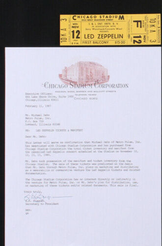 Led Zepplin Unused 1980 Chicago Concert Ticket / The Concert That Never Happened
