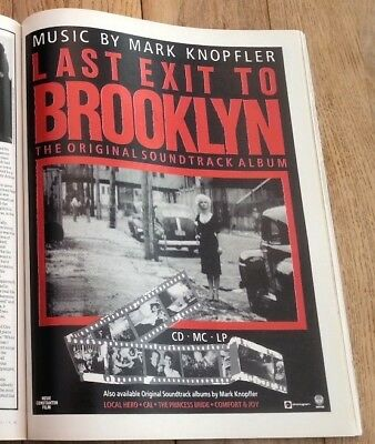 MARK KNOPFLER (Dire Straits) Brooklyn magazine ADVERT/Poster/clipping 11x8 inch