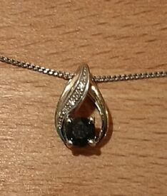 Diamond, Gold, Silver and Saphire Necklace