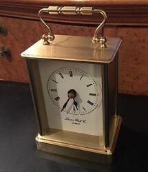 LONDON CLOCK CO. Gold Tone Desk Mantle Quartz Clock / Roman Numeral Timepiece