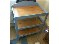 Blue wooden changing table