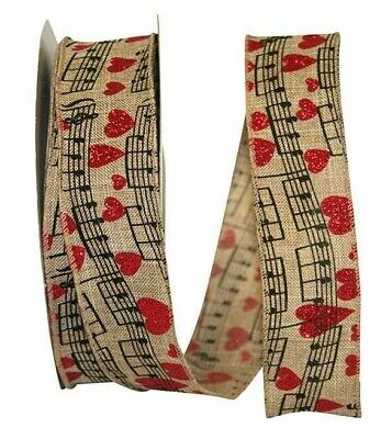 5 Yds. SHEART MUSIC NOTES LINEN WIRE EDGE RIBBON  1 1/2