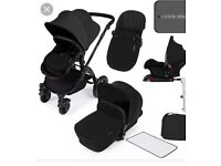 Ickle Bubba Stomp v3 All-in-1 pram carry cot car seat Travel System Isofix Base included Black