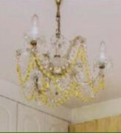 3 arm chandelier real lead crystal droplets fab @ £35