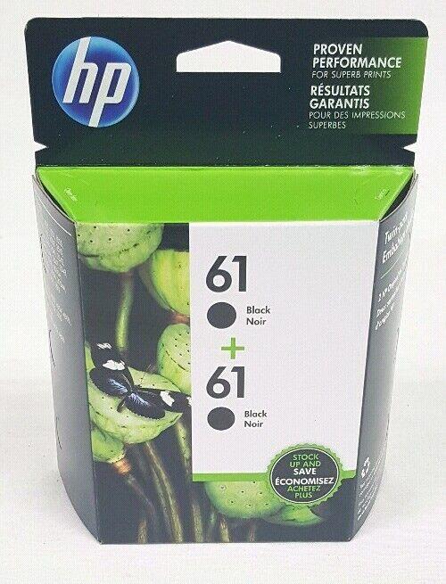 HP Genuine OEM 61 Twin-Pack 2 Ink Cartridges Black CZ073FN Exp 6/21 New Sealed