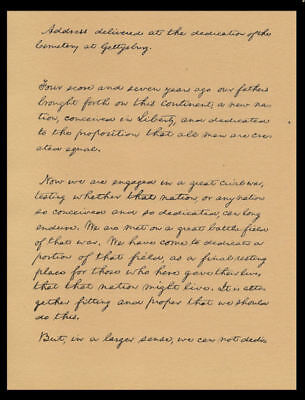 Abraham Lincoln Gettysburg Address Reprint On 100 Year Old Paper *P019