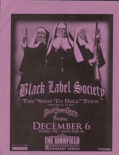 BLACK LABEL SOCIETY WARFIELD CONCERT POSTER ZAKK WYLDE