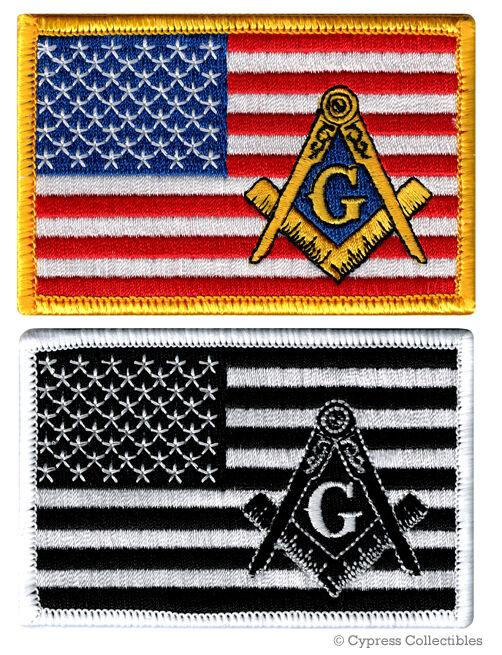 LOT TWO MASONIC US FLAG EMBROIDERED PATCH iron-on FREEMASON SQUARE COMPASS MASON