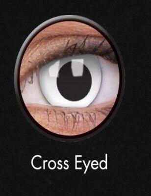 Crazy Halloween Contact Lens Kontaktlinsen lentilles White Cross Eyed Zombie UK ()