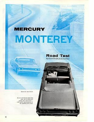 1961 MERCURY MONTEREY 292/300 HP ~ ORIGINAL 6-PAGE ROAD TEST / ARTICLE / AD