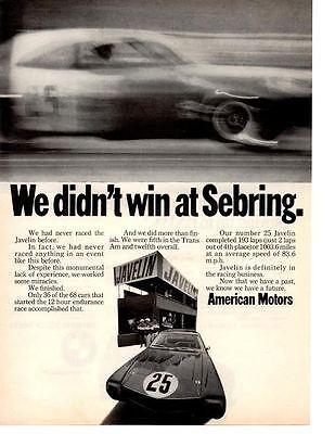 1968 AMERICAN MOTORS JAVELIN @ SEBRING ~ ORIGINAL PRINT AD