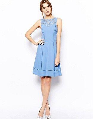 - Warehouse Cutwork Yoke Ladder Detail Dress Light Blue 16