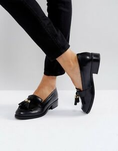 Brand new black tassel leather loafers - size 7