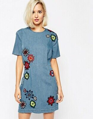 House of Holland floral Denim dress