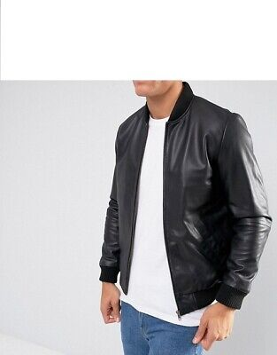 ASOS MEN'S 100% REAL LEATHER JACKET BLACK RRP £100 BUY IT NOW FOR ONLY £47.00