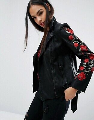missguided Faux Leather Floral Rose Applique Embroidered Black Jacket 10-12